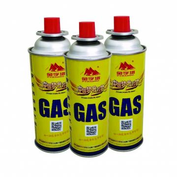 Prime butane gas cartridge and butane gas canister for portable camping stoves